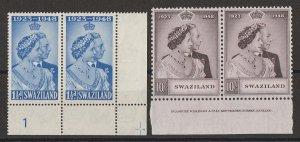 SWAZILAND : 1948 KGVI Silver Wedding set plate & imprint pairs. MNH **.