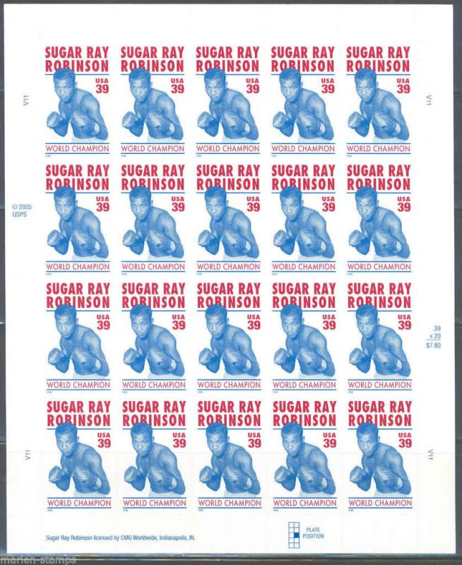 UNITED STATES SCOTT# 4020 SUGAR RAY ROBINSON MNH FULL SHEET OF 20 AS SHOWN