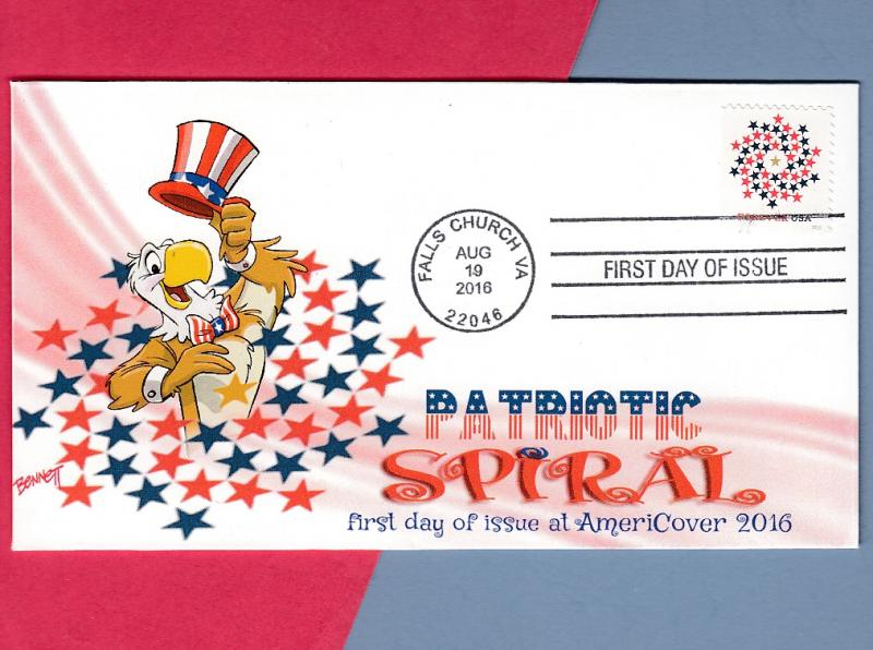 Patriotic Eagle Tips His Hat to the Patriotic Spiral! Colorful Cachetoons FDC!