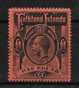 FALKLAND ISLANDS SG69 1914 £1 BLACK ON RED USED