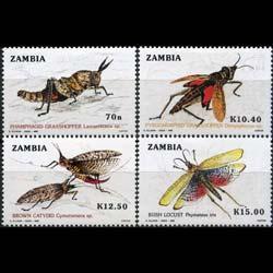 ZAMBIA 1989 - Scott# 478-81 Insects Set of 4 NH