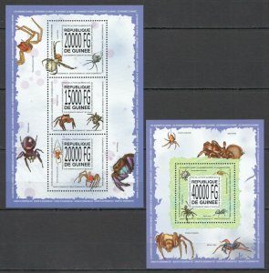 ST1382 2013 GUINEA SPIDERS FAUNA INSECTS KB+BL MNH STAMPS