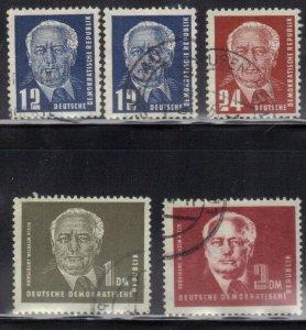 DDR SC# 54-57 **USED** 1950-51   PRES. WILHELM PIECK   SEE SCAN