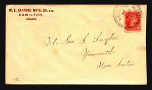 Canada 1896 Hamilton Large Triple Ring Cancel Cover  - Z15349