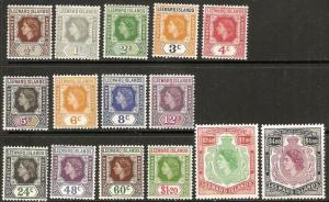 1954 Leeward Islands Scott 133-147 Queen Elizabeth MH