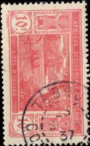 CÔTE-D'IVOIRE - 1937 - CAD TABOU / COTE-D'IVOIRE DOUBLE CERCLE SUR N°64