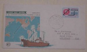 AUSTRALIA FDC 1963 HOBART PACIFIC CABLE  CACHET ADDRESSED