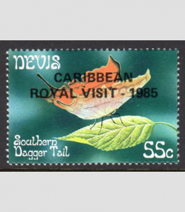 NEVIS 1985 BUTTERFLIES Ovpt. Caribbean Royal Visit stamp Perforated Mint (NH)
