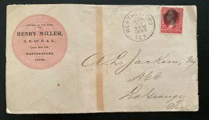1896 Weatherford TX USA Advertising Knights Of Pythias Cover To Lagrange