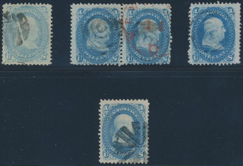 #63 PAIRS & (3) SINGLES DIFFERENT SHADES & CANCELS (1) IS A XF-SUPERB GEM BS5966