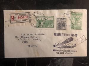 1931 Buenos Aires ARgentina First Flight Cover FFC To Pera Brazil FAM 10 Panagra