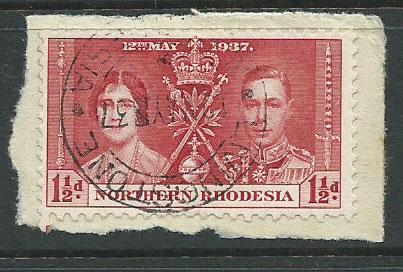 Northern Rhodesia  SG 22 VFU  on piece day of issue cancel