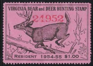 Virginia VA Hunting Bear and Deer Stamp Mint 33 1954-55 Resident $1.00