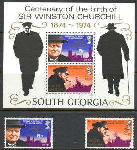 South Georgia Sc# 39-40a MNH 1974 Winston Churchill