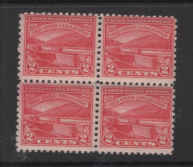 US Stamps 1929 Monongahela River Block of 4 Stamps Scott 681 MNH/OG