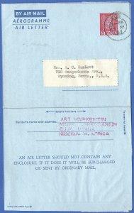 X598 - NIGERIA MEDICAL 1961 6d Aerogramme, LEBROSY, Sudan Leprosarium > USA