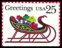 PCBstamps   US #2429 Bk Sgl 25c Christmas Sleigh, 1989, MNH, (2)