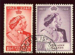 Pitcairn Islands 1949 KGVI Silver Wedding set complete VFU. SG 11-12. Sc 11-12.