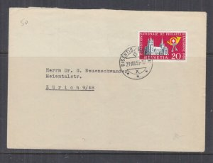 SWITZERLAND,1955 Philatelic Exhibition imperf. 20c. from Souvenir Sheet cover.