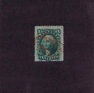 SC# 35 USED 10 CENT WASHINGTON, 1859, RED SUPPLEMENTARY MAIL CANCEL