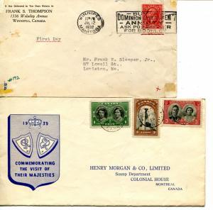 Canada  1933   and 1939    FDC  VF - Lakeshore Philatelics