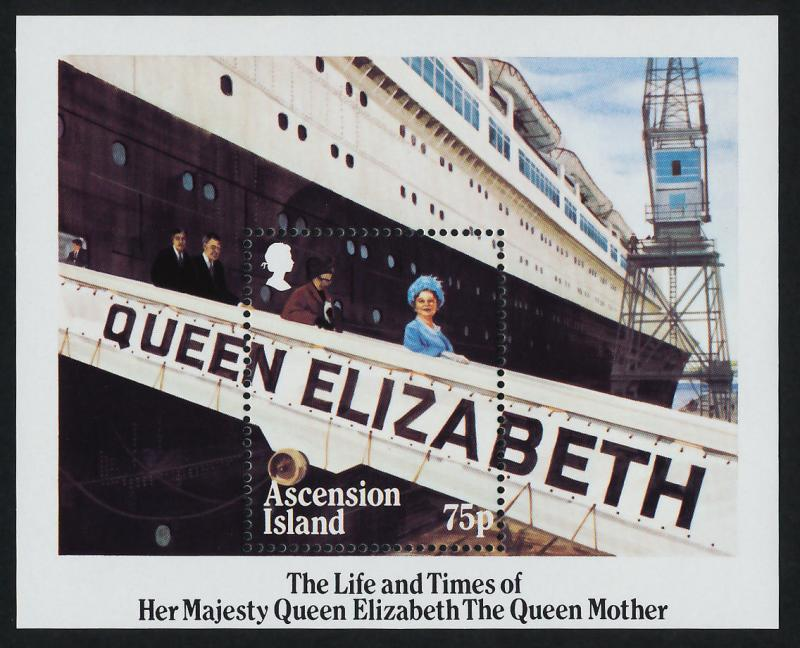Ascension Island 376 MNH Queen Mother 85th Birthday, Ship
