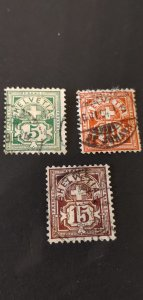 Switzerland #115 116 and 118 Used
