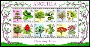 ANGUILLA - 1976 - FLOWERING TREES - CORDIA - ALMOND - PAPAYA ++ MINT NH S/SHEET!