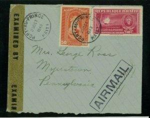 Haiti 1943 Censored Airmail Cover Port au Prince to PA franked Scott 346, 351