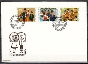 Liechtenstein, Scott cat. 694-696. costumes & Marching Band. First day cover.^