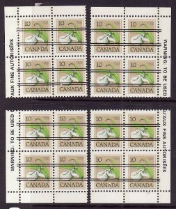 Canada-Sc#711xx-Unused NH 10c Lady's Slipper precancel-4 corner blocks-1977-82-