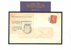MS3522 GB SALOP INTERRUPTED  1949 *Whitchurch* Cover GPO OFFICIAL ENQUIRY Label