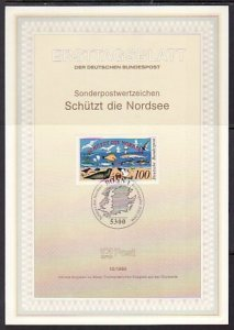 Germany, Scott cat. 1598. Birds, Marine Life issue. Postal Bulletin. F.D.C. ^