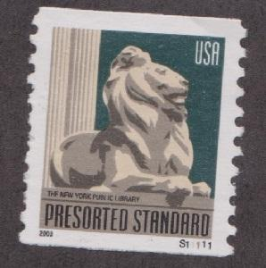 US #3769 Library Lion Used PNC coil Single plate S11111