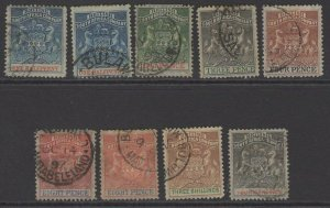 RHODESIA SG18/26 1892-4 DEFINITIVE SET USED