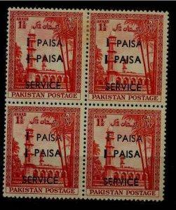 Pakistan O67 MNH bl.of 4, error