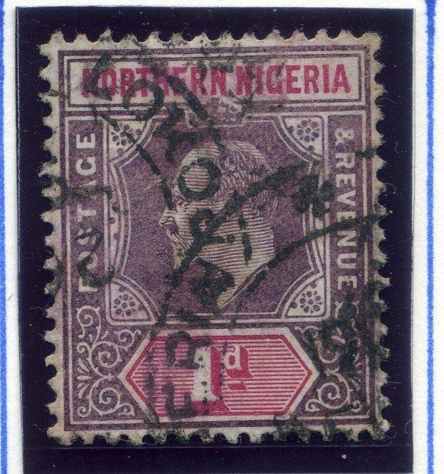 NORTHERN NIGERIA;  1904 early classic Ed VII issue used 1d. value Postmark