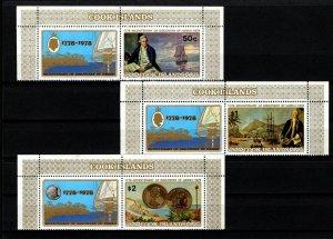 COOK IS - 1978 - CAPTAIN COOK - SHIP - HAWAII - MINT NH - MARGIN SET + LABELS!