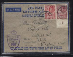 SOMALILAND COVER (PP0312B)   KGVI GOAT  2A+1A PL 1 ON A/M LETTER CARD CENSOR TO