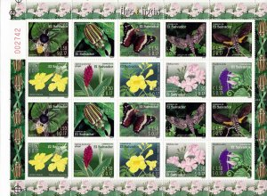 EL SALVADOR INSECTS and FLOWERS Sc 1587 FULL SHEET 20v MNH 2003