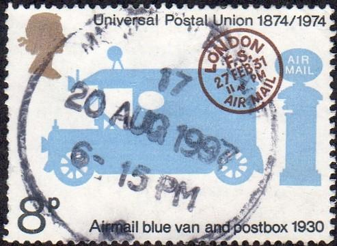 Great Britain 722 - Used - 8p Mail Van / UPU (1974) (cv $0.60)