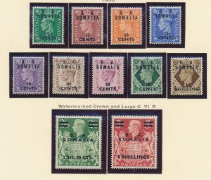 Great Britain, East Africa Forces, Somalia Stamp Scott #21-31, Mint Never Hin...