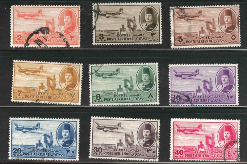 EGYPT Scott C39-47 Used 1947 airmail short set 9/12