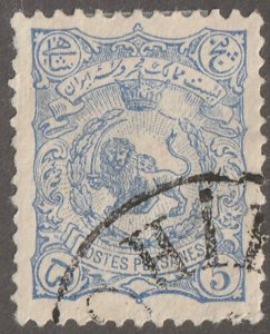 Persian stamp, Scott#92, used, hinged, 5ch, blue, #ed-188