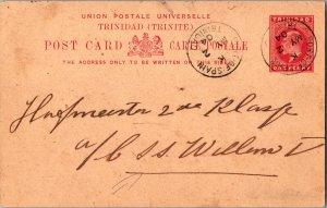 Trinidad 1d KEVII Postal Card 1904 Port of Spain, Trinidad Local use to S.S. ...