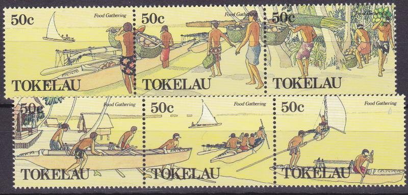 TOKELAU 1989 Food Gathering strips UHM set