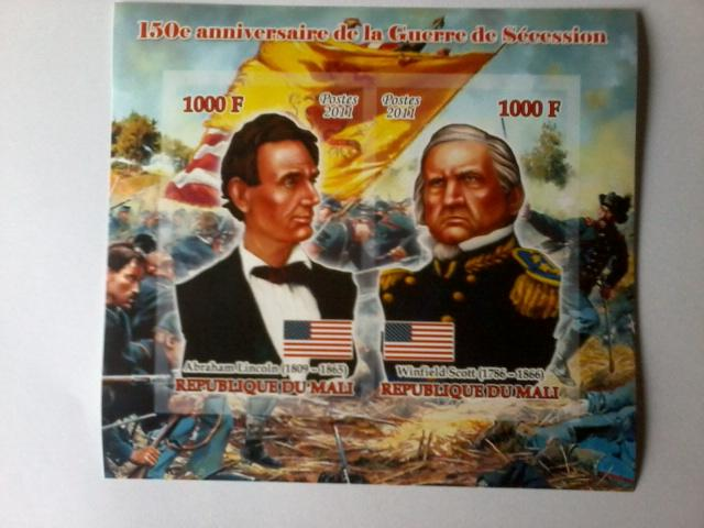 MALI SHEET IMPERF AMERICAN WAR LINCOLN PRESIDENTS