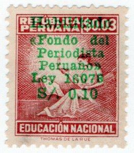 (I.B) Peru Revenue : Journalist's Fund Overprint 10c