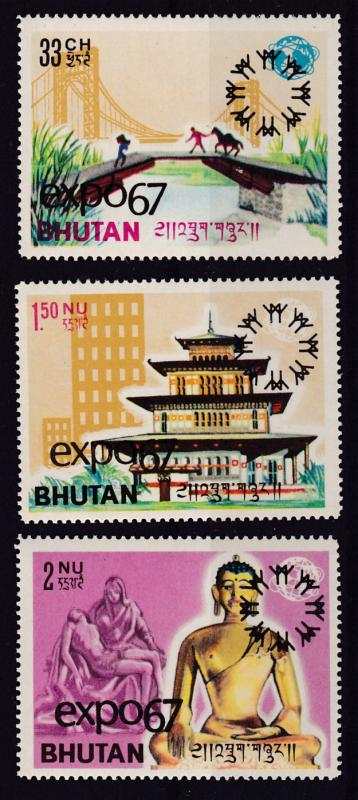 Bhutan 1967  Nrs, 50-52 overprinted for Expo-67 set (3) Complete   VF/NH