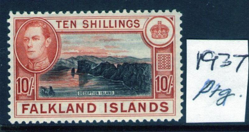 FALKLAND ISLANDS George VI 10/- 37 Ptg. SG162 lightly hinged and verified